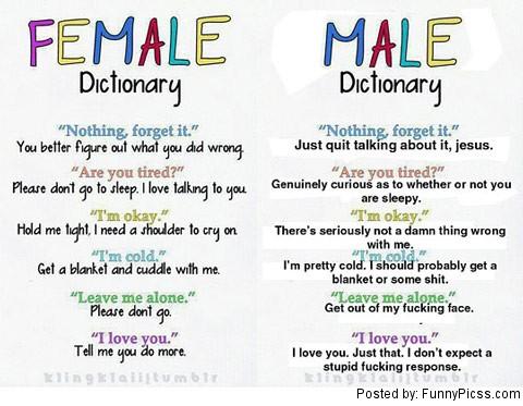female vs male dictionary